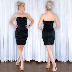 Black Fitted Strapless Mini Dress